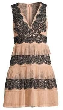 BCBGMAXAZRIA Women's Tiered Lace Dress - Bare Pink - Size 10