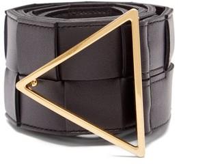 Bottega Veneta Triangle-buckle Intrecciato-leather Belt - Black