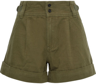 Current/Elliott The Relaxed Army Cotton And Linen-blend Shorts