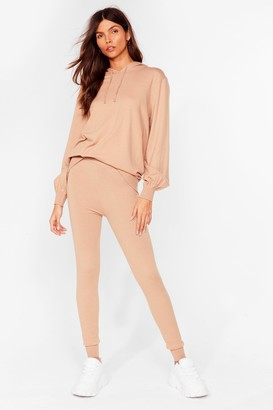 Nasty Gal Womens Leave 'Em to Knit Hoodie and Leggings Lounge Set - Beige - S