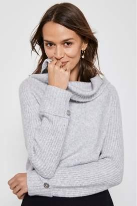 Mint Velvet Womens Easy Funnel Chunky Knit Jumper - Grey