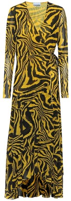 Ganni Exclusive to Mytheresa Animal-print mesh wrap dress