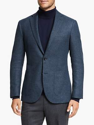 John Lewis & Partners Woven in Scotland Semi Plain Tailored Blazer, Navy