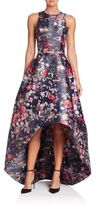 Monique Lhuillier Floral Printed Mikado High-Low Gown