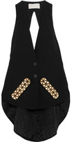Antonio Berardi Broderie Anglaise-paneled Embellished Crepe Vest - Black