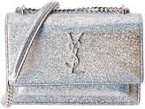 Saint Laurent Sunset Monogram Metallic Leather Wallet On Chain