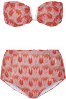 Missoni Metallic Crochet-knit Bandeau Bikini - Bright pink