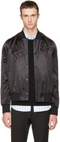 Valentino Black Embroidered Love Blade Bomber Jacket