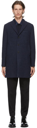 Harris Wharf London Navy Boiled Wool Boxy Coat