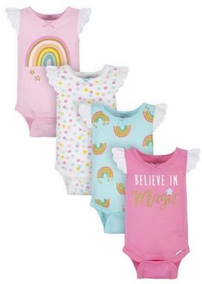 Gerber Baby Girl Tank Onesies Bodysuits, 4pk