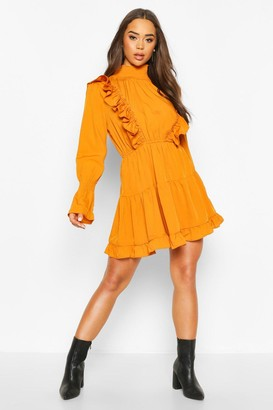 boohoo Shirred High Neck Ruffle Midi Skater Dress