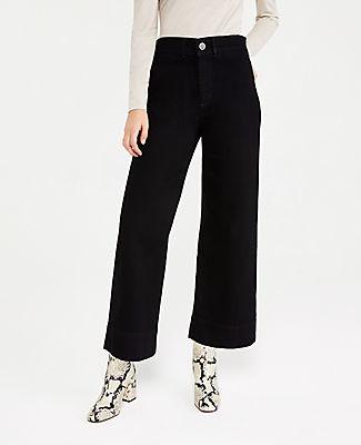 Ann Taylor Onseam Pocket High Waist Wide Leg Jeans in Jet Black Wash
