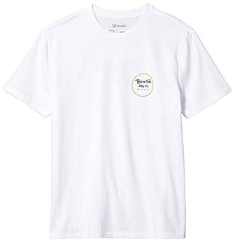 Brixton Wheeler II Short Sleeve Premium Tee (White/Sunset Yellow) Men's T Shirt