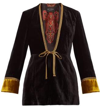 Etro Derbyshire Embroidered Velvet Jacket - Womens - Black