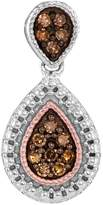 TheJewelryMaster 1/6 Carat Champagne Cognac & White Diamond Pendant