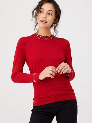 Wallis Gem High Neck Stud Jumper - Red