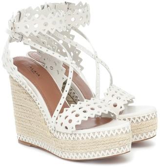 Alaia Leather platform espadrille sandals