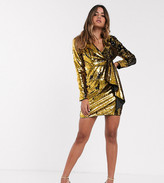TFNC sequin tux mini dress in black and gold
