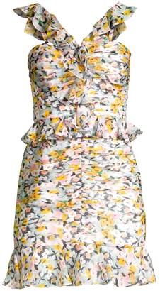 AMUR Elyse Ruffled Silk Mini Dress