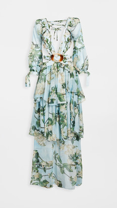 PatBO Floral Long Sleeve Beach Dress