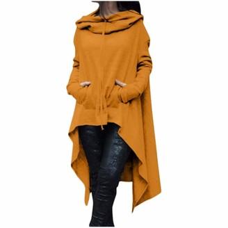 Youngaa Sweater Women Winter Women Plus Size Long Sleeve Hood Tops Solid Sweater Irregular 2021