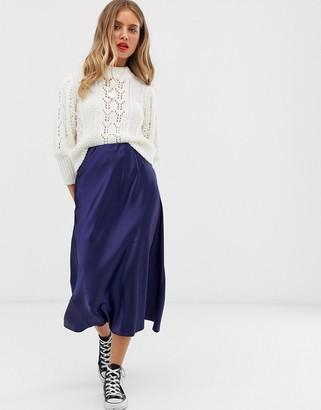 New Look satin bias cut midi skirt in navy