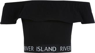 River Island Girls Black RI frill bardot cropped top