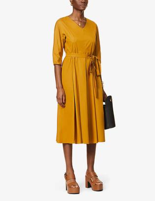 S Max Mara Fernet V-neck cotton-blend midi dress