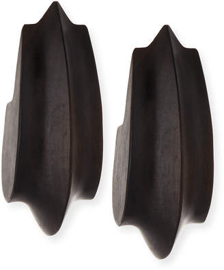 Viktoria Hayman Wooden Acorn Statement Earrings, Dark Brown