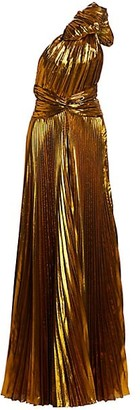TRE by Natalie Ratabesi Metallic Pleated One-Shoulder Gown
