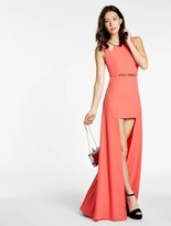 Halston Hi Lo Crepe Gown with Hardware Insert