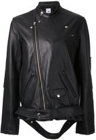 Miharayasuhiro loose fit biker jacket - women - Lamb Skin - 36