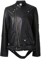 Miharayasuhiro loose fit biker jacket - women - Lamb Skin - 38