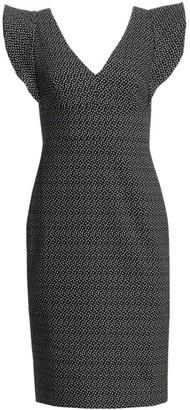ML Monique Lhuillier Ruffle Sleeve Print Sheath Cocktail Dress