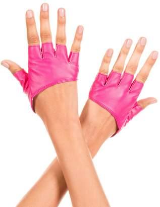Music Legs Women's Short Faux Leather Fingerless Gloves