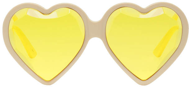 Gucci Off-White and Yellow Heart Sunglasses