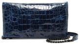 Alice + Olivia Me Croc Embossed Leather Foldover Clutch