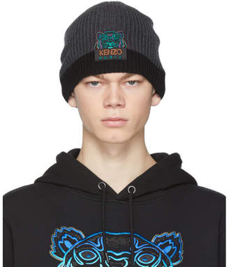 Kenzo Grey and Black Limited Edition Holiday Wool Two-Tone Tiger Beanie