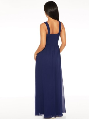 Quiz Chiffon Beaded High Neck Sleeveless Embellished Maxi Dress - Navy