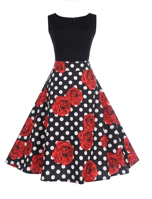 Pingtr Hepburn Vintage Dress 20's-50's Women Retro Rose Patterm Sleeveless Dress High-Waist Pleated Dress Polka Dots Rockabilly Swing Party Dress (XL)