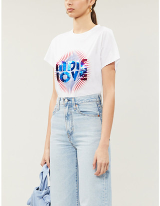 Sandro Sequin-embellished cotton-jersey T-shirt