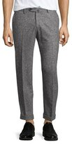 Isaia Donegal Flat-Front Trousers, Black/White