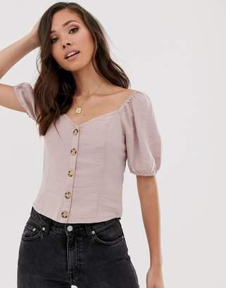 Abercrombie & Fitch button through linen shirt-Pink
