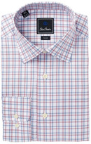 David Donahue Check Trim Fit Dress Shirt