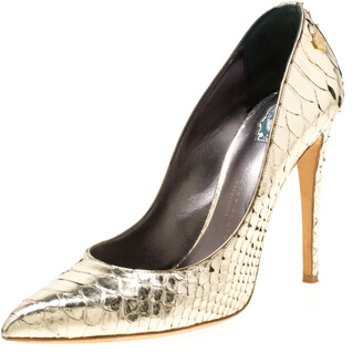 Philipp Plein Metallic Gold Python Studded Pointed Toe Pumps Size 40