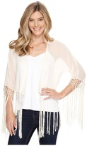 Roper 0947 Cream Georgette Fringed Cardigan Women's Sweater