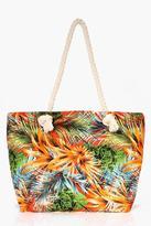 boohoo Lydia Palm Print Beach Bag