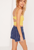 Missguided Ribbed Cut Back Crop Top Yellow