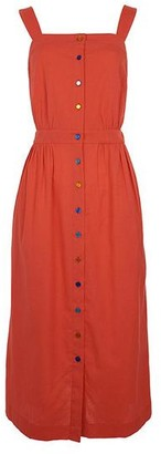 Emily And Fin Liana Button Through Red Midi Dress - 14
