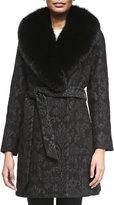 Sofia Cashmere Damask Brocade Wrap Coat with Fur Trim